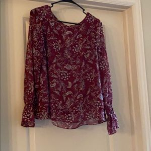 Plum pink sheer long sleeve blouse